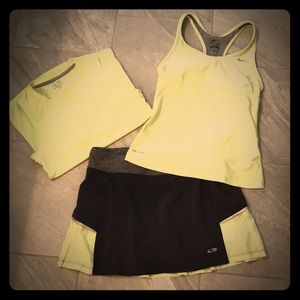 Tennis skirt with two matching tops